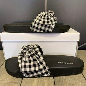 Womens Steve Madden Sandals Bow Gingham Black
